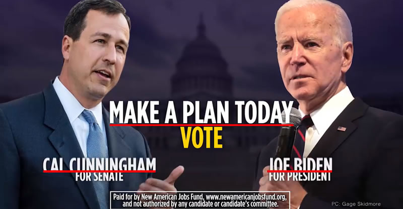 Joe Biden/Cal Cunningham Political Ad: Make a Plan to Vote 2020